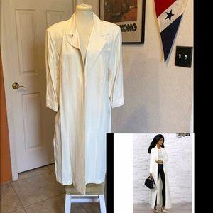 Vintage white cream duster coat